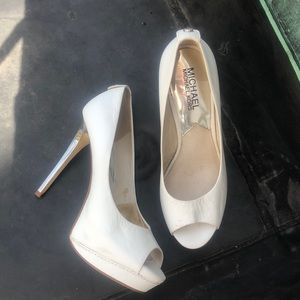 Michael Kors white peep toe heels